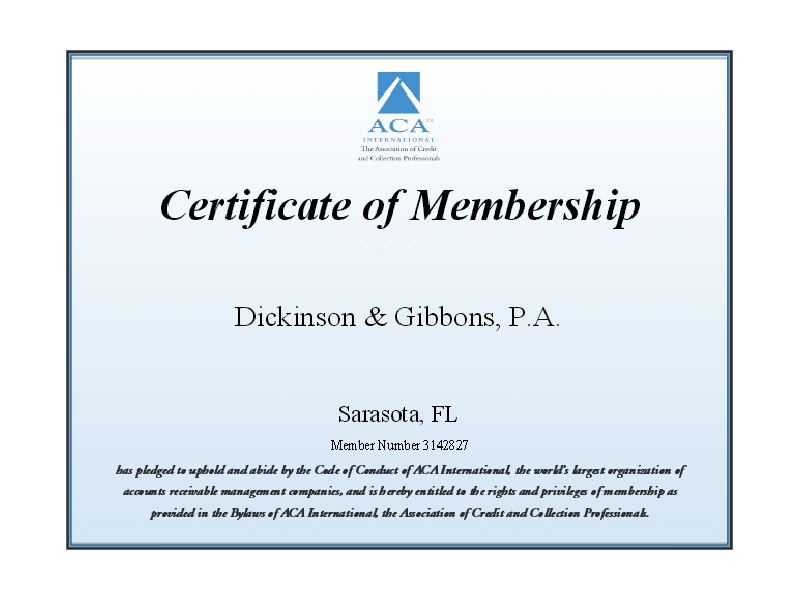 ACA International Membership Certificate